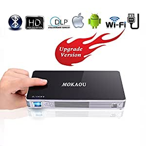 Projector,HD Mini Projector,Portable Pico DLP Android 7.1 Projector Max 120 inch,Support 1080P/Wifi/Bluetooth/HDMI/USB/TF Card/Audio for iPhone,Android,Laptop,Computer by Mokaou