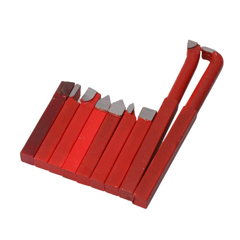 Juego de 9 herramientas de corte CNBTR, modelo YG8, 10 mm, color rojo, hechas de aleació n de carburo. Piezas para insertar en herramienta de corte giratoria 10mm yqltd