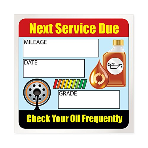 Oil Change Stickers / Service Reminders - 100 Stickers - Full Color - Removable Adhesive - 2 x 2