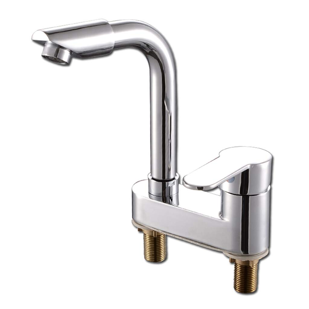 Yxx max Bathroom Washbasin Faucet Hot and Cold 360 Degree Double Hole Basin Basin Mixer