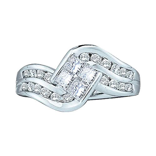- 14kt White Gold Womens Princess Diamond Contoured Cluster Ring 1.00 Cttw