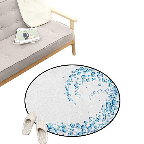 Blue Round Rug ,Water Droplets Bubbles of Air Aquatic Fresh Simple Pattern Splashes Waves Ocean, Flannel Microfiber Non-Slip Soft Absorbent 31