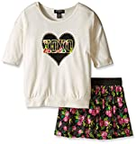 XOXO Big Girls' 2 Piece Set Hacci Top Challis Scooter, Natural Shell, Small/7/8