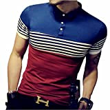 LOGEEYAR Mens Summer Slim Fit Contrast Color Stitching Stripe Short Sleeve Polo Casual T-Shirts (Medium, 508-red)