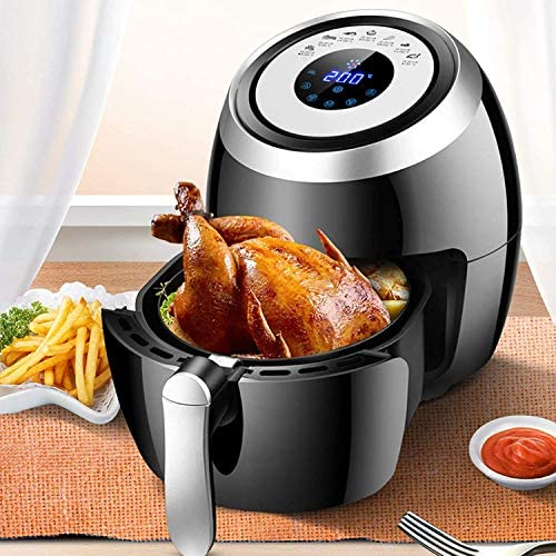 Friteuse à air de 5,5 L, écran tactile numérique LCD et panier détachable antiadhésif, facile à nettoyer, pour une cuisson saine sans huile ou faible en gras, 1500 W noir
