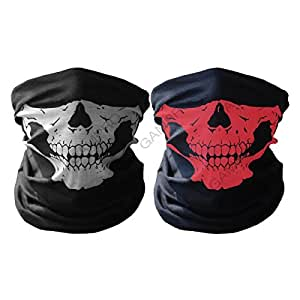 GAMPRO 2 Pcs Universal Breathable Seamless Tube Skull Face Mask, Dust-proof Windproof Motorcycle Bicycle Bike Face Mask for Cycling, Hiking, Camping, Climbing,Fishing, Motorcycling(Black&Red)