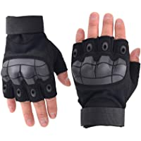 BaronHong Hard Knuckle Half-Finger Gloves Anti-Slip Gloves for Riding Motorcycle Cycling Fighting Shooting Work Gear