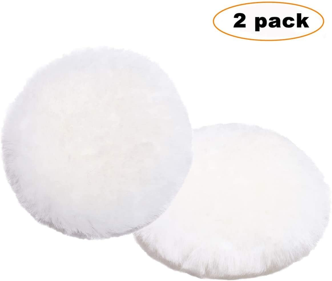 OKAYDA Lambswool Polishing Pads 7 inch Soft Sheepskin Buffing Pads with Hook and Loop Back Design Cutting Pad for Car, Furniture, Glass and So On