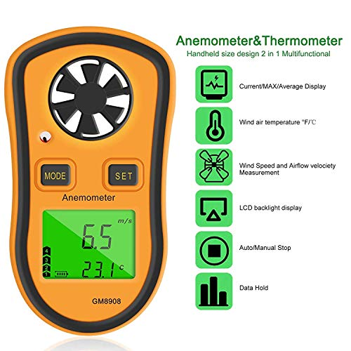 Qotone Digital Anemometer Wind-Speed Gauge Meter LCD Handheld Airflow  Windmeter Thermometer (2)