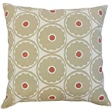 The Pillow Collection P18-PT-POPFLOWER-DRIFTWOOD-C100 Day Floral Pillow, Driftwood