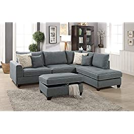 Poundex F6542 Bobkona Rianne Left Or Right Hand Chaise with Storage Ottoman