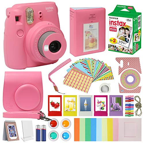 Fujifilm Instax Mini 9 Camera Flamingo Pink Accessory kit for kids Fuji Instax Mini 9 Camera Includes Instant camera Fuji Instax Film 20 pack Instax Case with strap Instax Album + Frames lenses + more