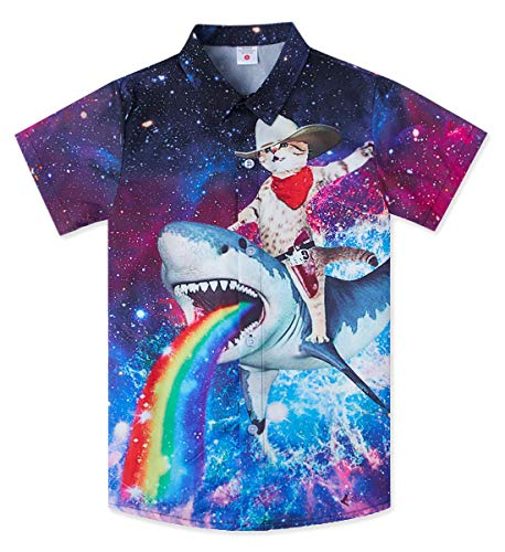 Boys Blue Shark Brown Cat Shirt for Size 10-12 Teenagers 3D Floral Print Funny Galaxy Space Rainbow Short Sleeve Button Collared Dress Up T-shirts Big Guys Child Tropical Summer Holiday Party Customes ()