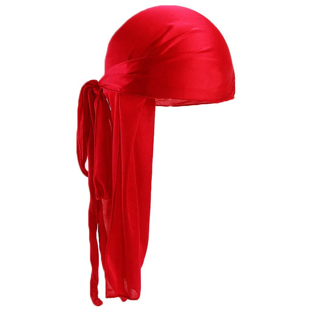 Lamdoo Women Men Long Tail Faux Silk Turban Hat Solid Bandana Pirate Biker Cap Foldable Royal Blue