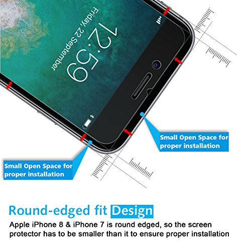 OMOTON iPhone 8 / 7 Screen Protector [2 Pack]- [9H Hardness] [Crystal Clear] [Bubble Free] [3D Touch Compatible] Tempered Glass Screen Protector for Apple iPhone 8 / iPhone 7 (4.7 inch)
