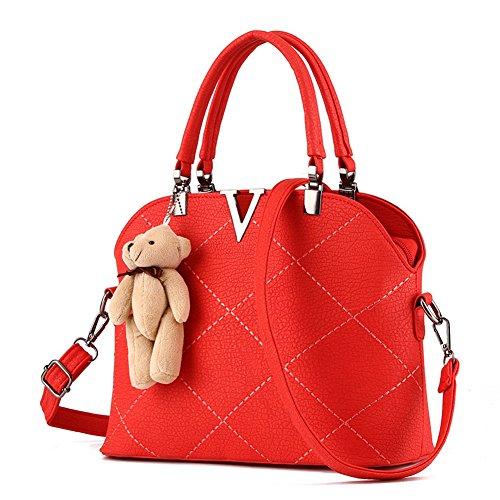 RUIREN Bolso Portátil Messenger Shoulder Bag Rojo
