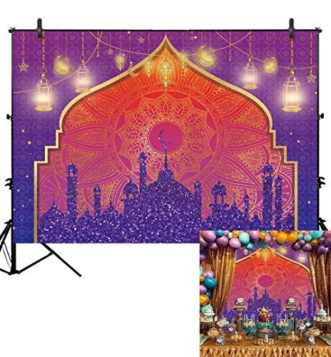 Sweet Sixteen Themes List (Allenjoy Arabian Nights Magic Genie Backdrop Pruple Moroccan Birthday Party Decor Banner Gold Glitter Indian Bollywood Baby Shower Weeding Sweet 16 7x5ft Photography Background Photobooth)