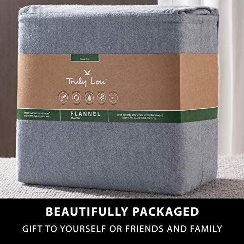 Truly Lou Cotton Flannel Sheet Set, Queen 4 Piece Set, Premium Heavyweight Cotton Flannel, Ultra Soft, Warm, Cozy Comfort, Deep Pocket Bed Sheets, Perfect for Winter (Queen, Blue)
