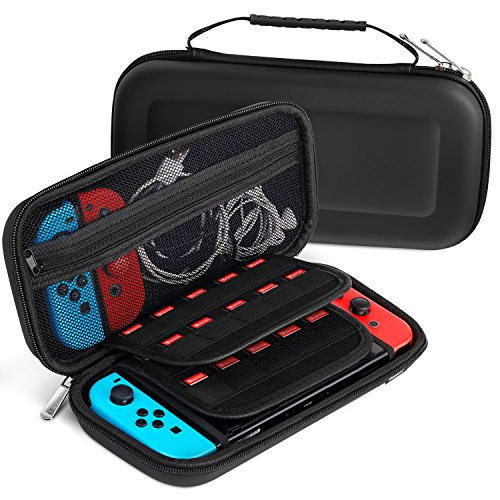 Fosmon Nintendo Switch Carrying Case, Multipurpose Travel Case Protective Hard Shell with Zipper Mesh Pocket, 20 Game Card Holder for Switch Console, Accessories, Cables, Joy-Cons (Black) - Fosmon Carrying Case