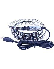 Ledmomo Ledstrip, waterdicht, RGB, SMD 5050, 60 leds, 5 V, 2 m, flexibel, met afstandsbediening, meerkleurig voor TV/PC/laptop (2 m)