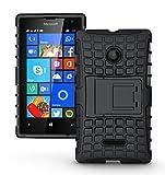 Microsoft Nokia Lumia 435 Case - Tough Rugged Dual Layer Protective Case with Kickstand for Microsoft Nokia Lumia 435 - Black