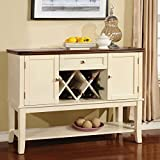 247SHOPATHOME Idf-3326WC-SV Sideboards, White and Cherry