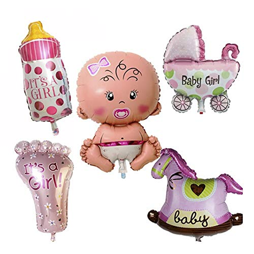 5Pcs Baby Party Balloons,Baby Shower Foil Balloons,Pink