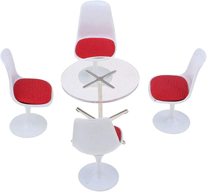 1//12 Dollhouse Furniture Tulip Swivel Turning Chair Round Table Modern Simple