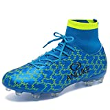 ANLUKE Men's Athletic Hightop Cleats Soccer Shoes Football Team Turf Blue 42