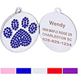 "Taglory Stainless Steel Pet ID Tags | Laser Engraved Custom Dog Tags | Crystal Rhinestone Studded Paw Print | 1.0""x1.0"" Customized Tags for Small Puppy Medium Dogs 