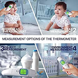 Forehead and Ear Digital Infrared Thermometer Dual Function Temporal Forehead Toddler Thermometer in Ear Temperature Thermometer - Instant Medical Thermometer with Fever Alarm for Baby Kids Toddler