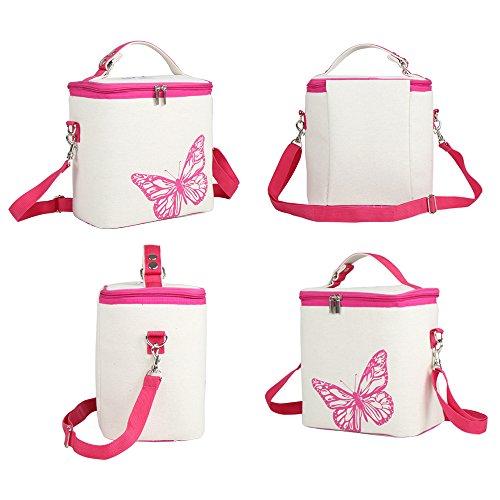 Cheerlife Leinen Lunch Tasche Picknicktasche Brotdose Tragetasche Kühltasche für Arbeit, Schule, Camping (Rosa Schmetterling) Rosa Schmetterling