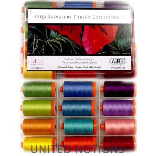 Aurifil Thread Set SAQA SIGNATURE COLLECTION II 50wt Cotton 12 Large Spools 1300M (1422 yd) each by Aurifil