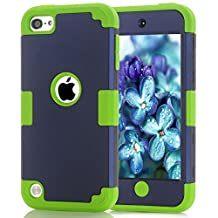 iPod Touch 5 Case, iPod Touch 6 Case, Easytop 3 in 1 Hybrid Impact Protection Hard Plastic with Shock Absorbing Soft Silicone Bumper Inner Triple Layer Armor Full Body Cover Case (Navy + Green)