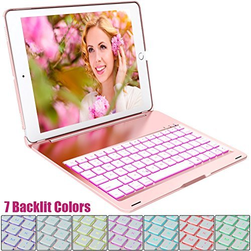 Purple Flashing Keypad (iPad Pro 10.5 Keyboard Case, FKANT 7 Backlit Colors Ultra Slim Protective Foil Smart Case Wireless Bluetooth Keyboard with Auto Sleep Wake Function for 2017 New iPad Pro 10.5 inch)