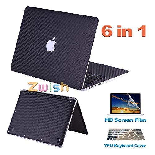 Zwish Black Carbon Fiber 6 in 1 Removable Ultra Thin Full Body Vinyl Art Skins Decal Sticker for MacBook Air 11.6-inch Set w/ Screen,Keyboard,Palmrest, Trackpad, Upper and Bottom Protective (Carbon Fiber Laptop Case)
