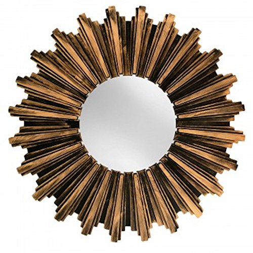 Kole OF546 Wall Mirror Antiqued Bronze Sunburst Wall - Funky Small Mirrors Bathroom