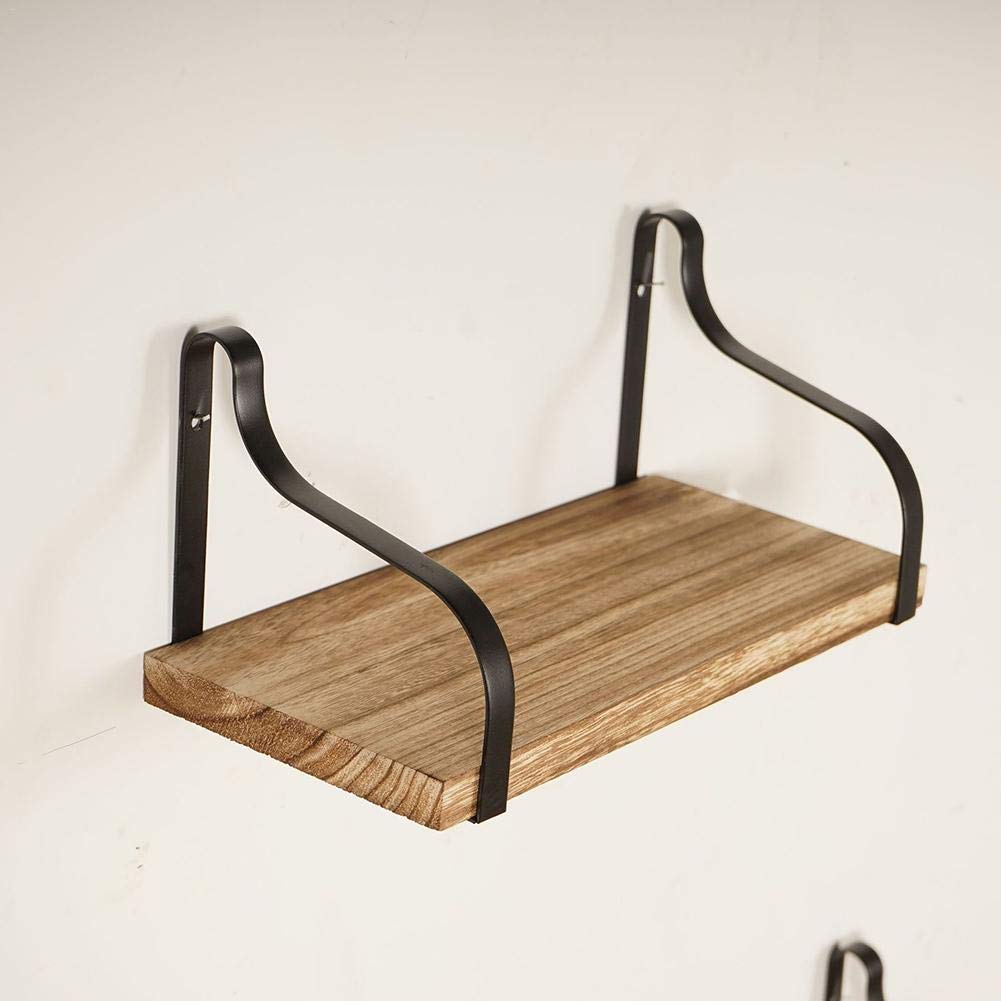 Amazon com sienna ironwood holder multi layer wrought iron decoration rack for kitchen living room bathroom bedroomwooden wall shelf set 3pcs home