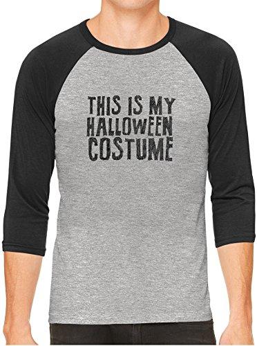 Austin Ink Apparel This is My Halloween Costume Gray Unisex 3/4 Sleeve Baseball Tee, Charcoal, 2XL