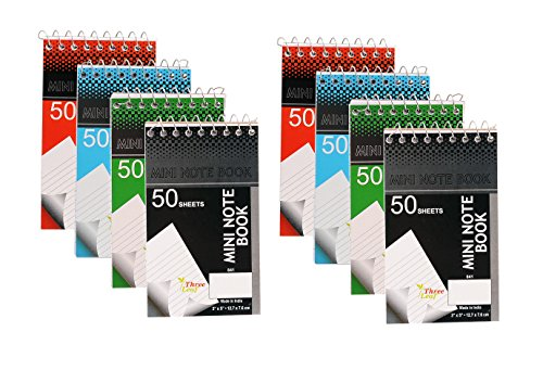 (Personal Mini Notebooks, 3x5-Inch, College Ruled, White, 50 Pages per, Pack of 4 Colors: Black, Blue, Green, Red from Northland Wholesale. (2-Pack, 8 Mini-Notebooks) )