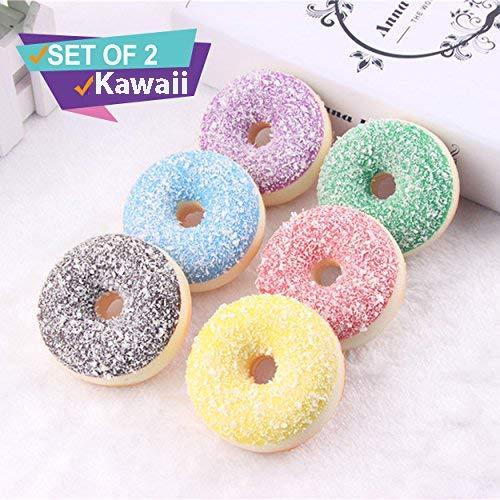 Katsu Retail Group 2 Donut Squishy Pack | Jumbo Squishes Slow Rising Prime Scented Food Cake Peach Cupcake |Kawaii Cute Large Kids Toys| Random Set |Soft Squeeze Stress Ball (Doughnuts-Set)