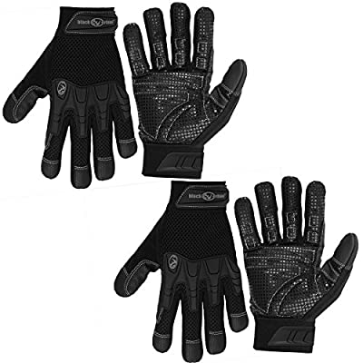 Black RhinoWork Gloves 2 Pairs Pro-Litez Heavy Duty Lightweight Work Gloves Men Work Gloves Women Work Gloves With Grip Work Gloves All Purpose