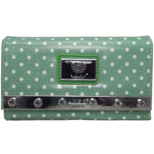 Authentic LYDC Ladies Polka Dot/Star Studded Tri-fold Purse/Clutch/Wallet Dot Green