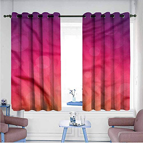 Mdxizc Fashion Curtain Orange and Pink Ombre Circles Decor Curtains by W55 xL72 Suitable for Bedroom,Living,Room,Study, - Sport Yarn Satin Ombre