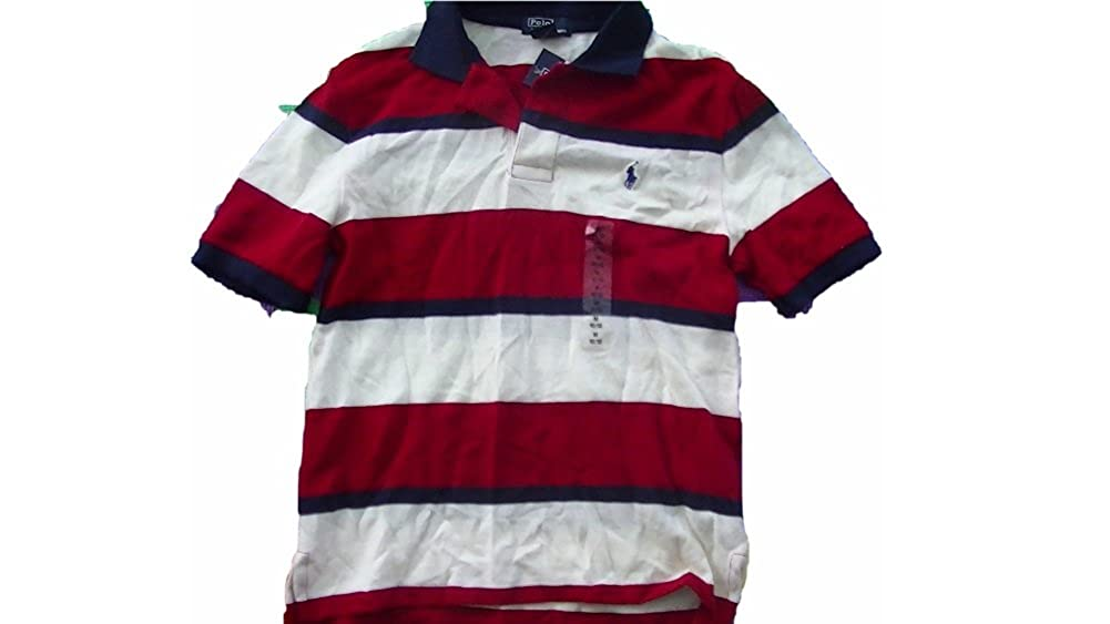 RALPH LAUREN Big Boy Striped Polo Tee Shirt XL red mu