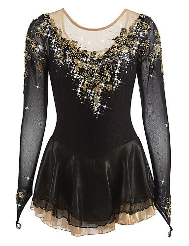 Skating Queen Figure Skating Dress for Girls Women Ice Skating Costume Competition Performance Rhinestone Applique Golden Flower Handmade Professional High-end Skating Wear Long Sleeves Black, S ()