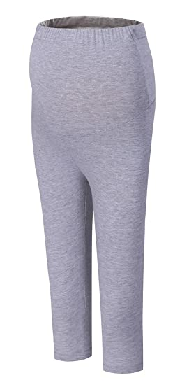 d4035d19c0b Foucome Over The Belly Maternity Leggings for Women Supper Soft Contton  Pregnant Pants Light Gray