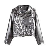 Gergeos Fashion Parka Coat Womens Leather Biker Motorcycle Zipper Short Jacket Outerwear Streetwear(Silver,M)