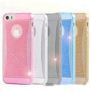 JJE Transparent Shimmering Powder Silicone Back Case for iPhone 5/5S (Assorted Color) , Golden