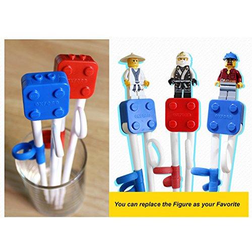 Brick Figure Design Oxford Training Chopsticks Spoon Fork Case Set for Right-hand Children Kids (BlueCaseSpoonForkChopsticks) by OxfordKorea (Image #8)